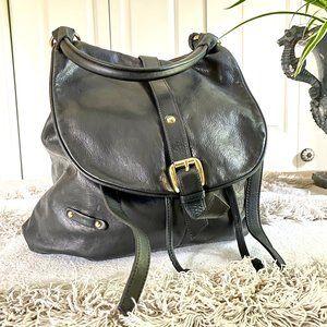 Gianni Notaro Black Italian Leather Drawstring Bag